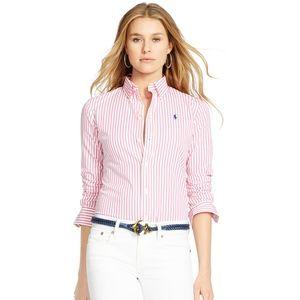 (RALPH LAUREN) Pink Custom Fit Striped Shirt
